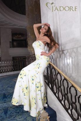 שמלת ערב סטרפלס מודפסת