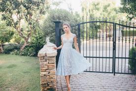 שמלת ערב תחרה תכלת
