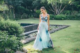 שמלת ערב שני חלקים הדפס תכלת