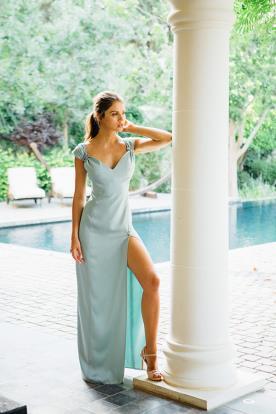 שמלת ערב קלאסית תכלת