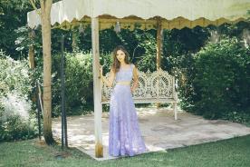 שמלת ערב תחרה סגולה