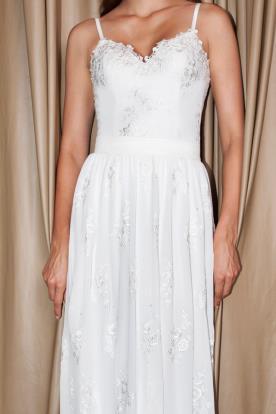 שמלת כלה לבנה תחרה כסופה