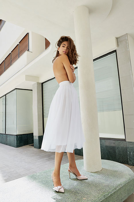 חצאית טול לבנה מידי