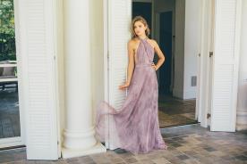 שמלת ערב משי סגול מודפס