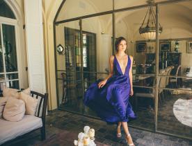 שמלת ערב משי סגול