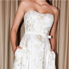 שמלת סטרפלס יפה עם כיסים וחגורה