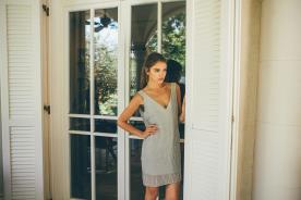 שמלת ערב מיני אפורה