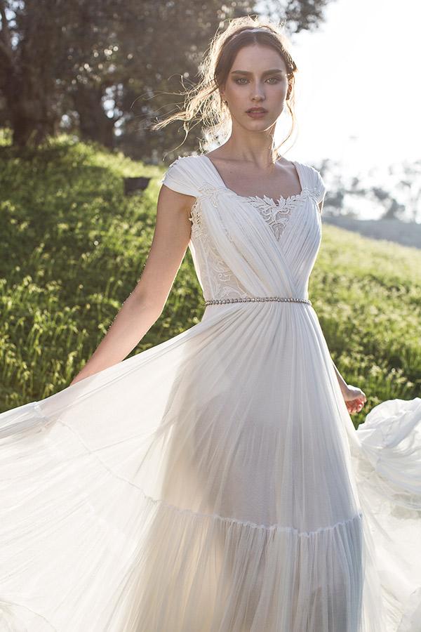 שמלת כלה שיפון כיווצים