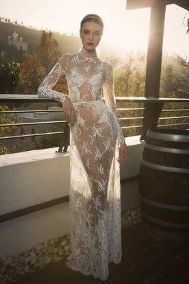 שמלת כלה מבד תחרה שקוף