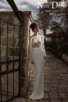 שמלת כלה צנועה שרוולים רחבים