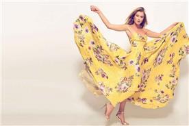 שמלת ערב: שמלה בסגנון קלאסי, שמלה עם תחרה, שמלה עם מחשוף, שמלה עם מחוך, שמלה בצבע צהוב, קולקציית 2017 - רובי חושנגי