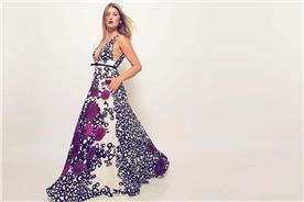 שמלת ערב: שמלה בסגנון רומנטי, שמלה עם תחרה, שמלה עם מחשוף, שמלה בצבע סגול, קולקציית 2017 - רובי חושנגי