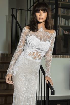 שמלת כלה מתחרה שקופה עם חרוזים
