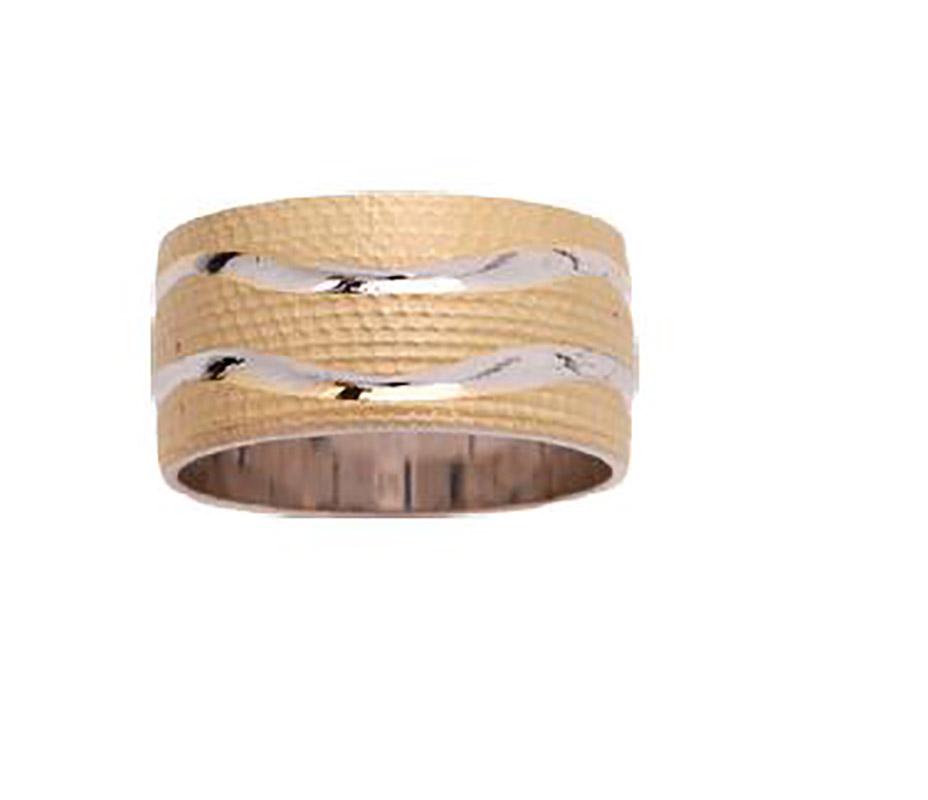 טבעת נישואין בשילוב זהב צהוב ולבן