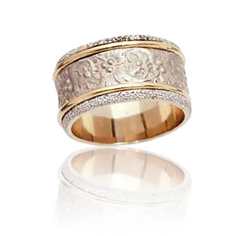 טבעת נישואין מעוטרת פרחים 2 שורות