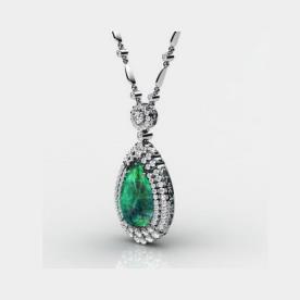 שרשרת יהלומים עם אבן אמרלד