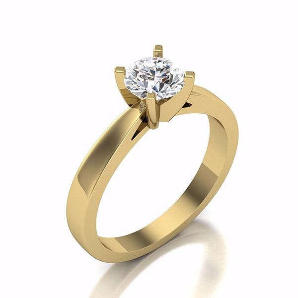 טבעת אירוסין בעיצוב רומנטי זהב צהוב