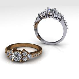טבעות אירוסין עם שבעה יהלומים מרכזיים