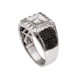 טבעת לגבר בשיבוץ יהלומים לבנים ושחורים