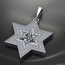 תליון מגן דוד עם יהלומים
