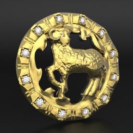 תליון זהב עם יהלומים לגבר