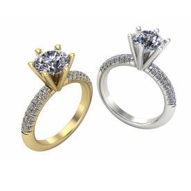 טבעת אירוסין יהלום מוגבהה בשיבוץ יהלומים מסביב