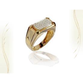 טבעת חותם עם שיבוץ יהלומים מרכזי