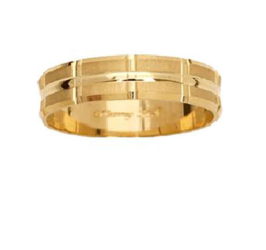 טבעת נישואין עם חיתוכי שתי וערב