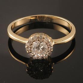 טבעת אירוסין יהלום מרכזי עגול