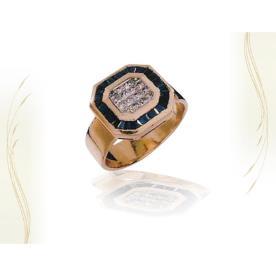 טבעת חותם עם יהלום מרכזי
