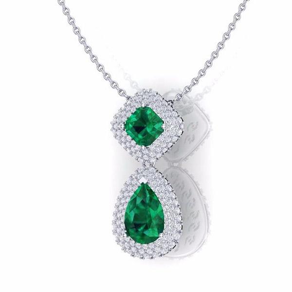 שרשרת יהלומים בשילוב אבן אמרלד