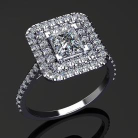 טבעת אירוסין יהלום מרובע מרכזי וגדול
