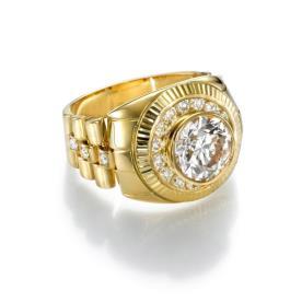 טבעת חותם זהב צהוב בשילוב יהלומים
