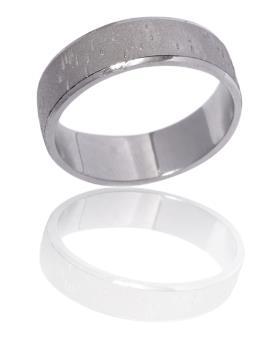 טבעת נישואין מבריקה זהב לבן עם עיטורים