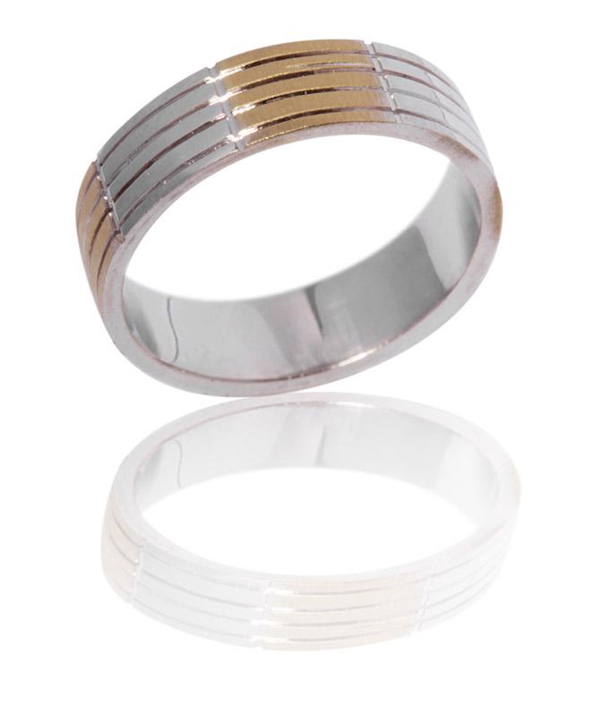 טבעת נישואין 4 שורות זהב צהוב ולבן