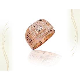 טבעת חותם זהב אדום ויהלומים לגבר