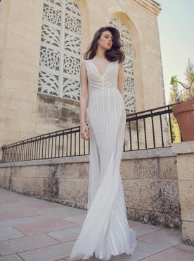 שמלת כלה מחורזת משיפון