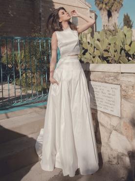 שמלת כלה קרופ טופ וחצאית