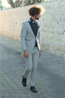 חליפת חתן: חליפת שלושה חלקים, חליפה בגזרה ישרה, חליפה בדוגמה חלקה, חליפה בצבע אפור - ESPANOL אספניול אופנה וחתנים