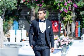חליפת חתן: וסט, חליפת שלושה חלקים, חליפה בגזרה ישרה, חליפה בדוגמה חלקה, חליפה בצבע כחול - ESPANOL אספניול אופנה וחתנים