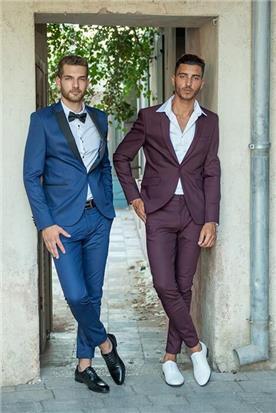 חליפת חתן: חליפה בצבע בורדו, חליפת שני חלקים, חליפת שלושה חלקים, חליפה בגזרה ישרה, חליפה בדוגמה חלקה, חליפה בצבע כחול - ESPANOL אספניול אופנה וחתנים