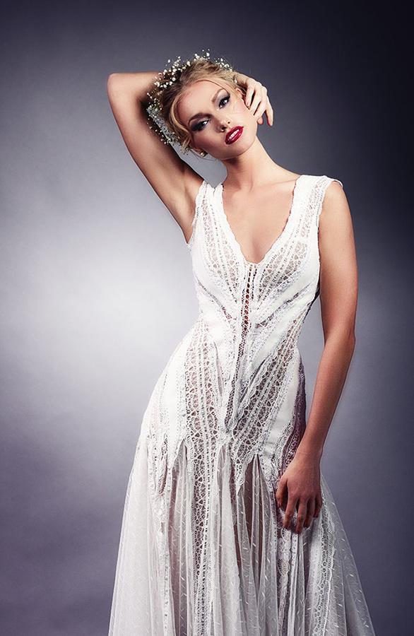 שמלת כלה בוהו שיק רפויה עדינה