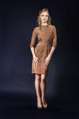 שמלת ערב מבד זמש חומה
