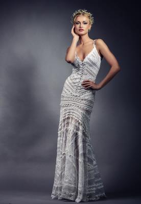 שמלת כלה תחרה בקווים גאומטרים