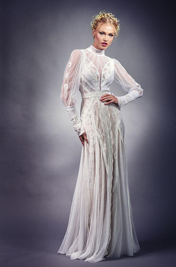 שמלת כלה וינטג' צווארון סגור נשפך