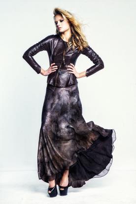 שמלת ערב ג'קט מעור עם שרוולים