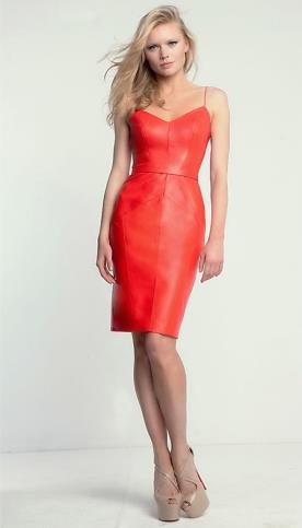 שמלת ערב עור כתומה קצרה
