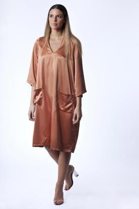 שמלת ערב כתומה מבד סאטן