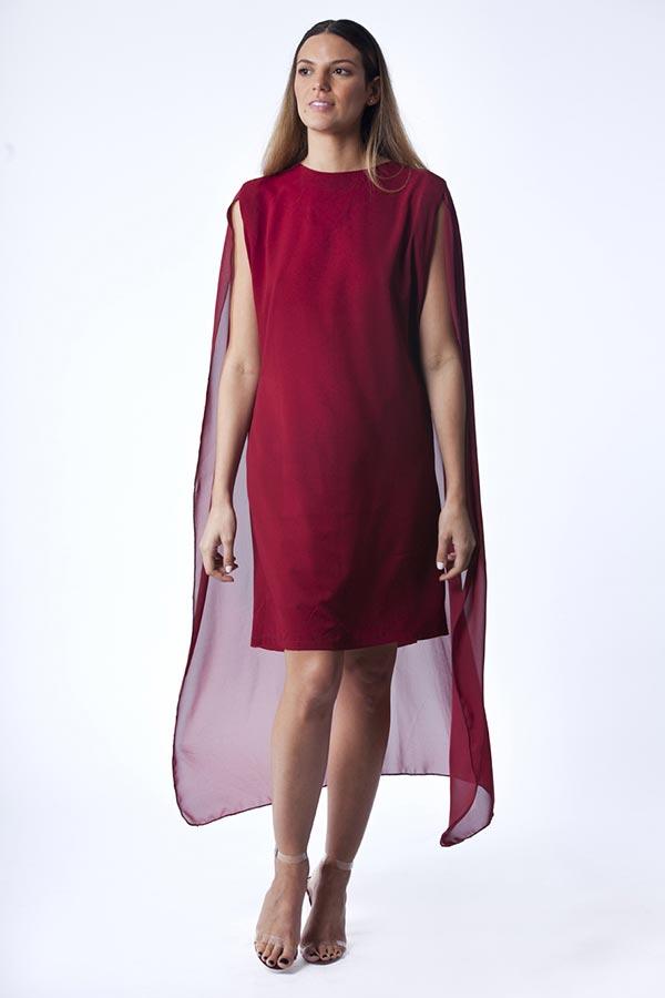 שמלת ערב אדומה עם עליונית