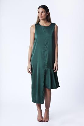שמלת ערב ירוק בקבוק אסימטרית